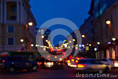 Images of the city at night is blurred