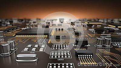 High tech electronic PCB Printed circuit board with processor and microchips