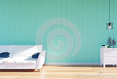 Living room interior - white leather sofa and green wall panel with space