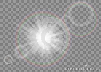 Glowing sun rays sparkle star with lens flare effect on transparent vector background.