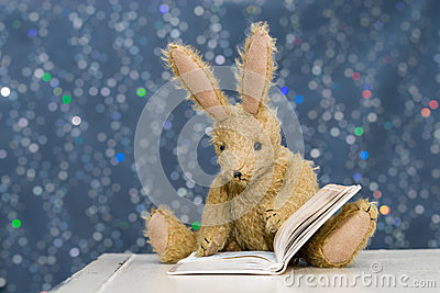 Cute child`s toy rabbit reading at storytime.