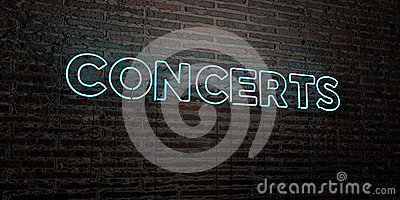CONCERTS -Realistic Neon Sign on Brick Wall background - 3D rendered royalty free stock image
