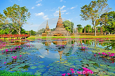 Beautiful Scenery Scenic View Ancient Buddhist Temple Ruins of Wat Sa Si in The Sukhothai Historical Park, Thailand