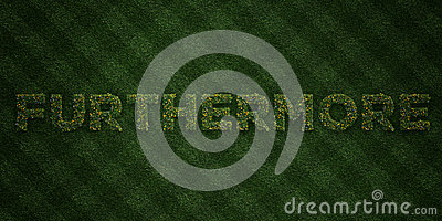 FURTHERMORE - fresh Grass letters with flowers and dandelions - 3D rendered royalty free stock image