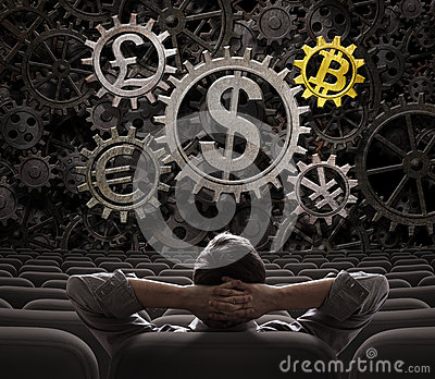 Trader or investor looking on currencies gears including bitcoin 3d illustration