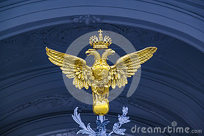 Double Eagle - Emblem of Russia on the gate Winter Palace in Saint-Petersburg