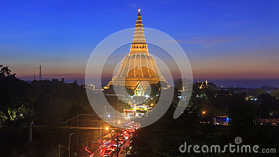 Phra Prathomchedi after sunset with the twilight sky in Nakornpathom (Banner at the bottom written