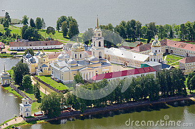 Orthodox monastery and lake Seliger, Tver region, Russia