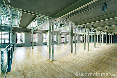 New factory hall with pillars