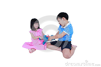 Quarreling conflict of sibling. Concept brawl in family. Isolate