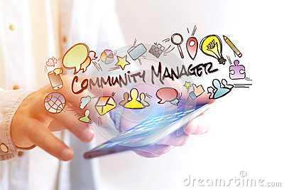 Concept of man holding smartphone with community manager title a