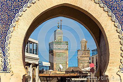Minarets of Fes seen throuth Bab Bou Jeloud Gate. Morocco