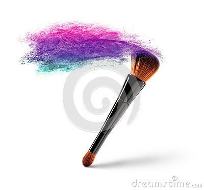 Makeup brush with color powder