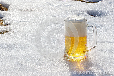 Beer on the background of snow.