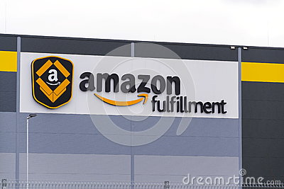 Online retailer company Amazon fulfillment logistics building on March 12, 2017 in Dobroviz, Czech republic