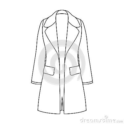 Blue female restrained coat buttoned. Women s outerwear..Women clothing single icon in outline style vector symbol stock
