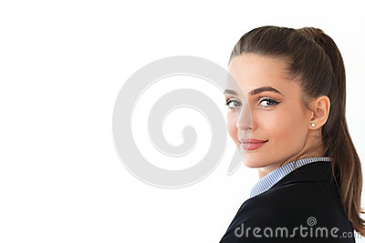 Portrait of young beautiful business woman on white background