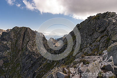 Landscape of Orla Perc most difficult trail in the High Tatra Mo