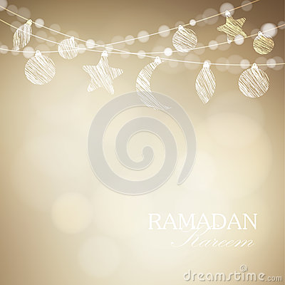 String with ornamental moon and bokeh lights. Golden festive vector illustration background. Card or invitation for