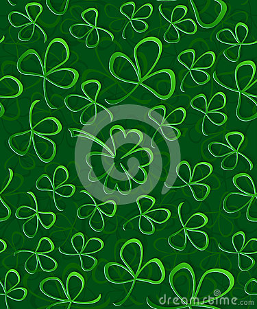 Seamless 3D green paper cut Pattern Clover for St Patrick`s Day, Shamrock wrapping paper, ornament clover foliage