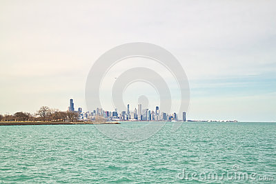Chicago skyline as seen from south side lakeshore of Lake Michigan on a frigid winter day
