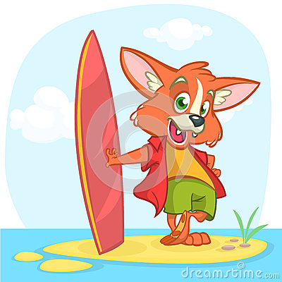 Cartoon summer holiday background with fox surfer. Vector illustration