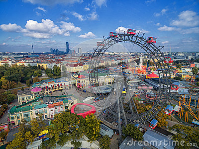 VIENNA, AUSTRIA - OCTOBER 07, 2016: The Giant Ferris Wheel. The Wiener Riesenrad. it was the world`s tallest extant Ferris wheel