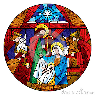 Circle shape with the Christmas and Adoration of the Magi scene