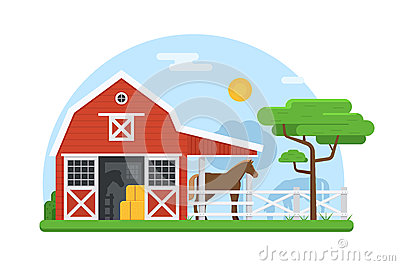 Horse Stables in Flat Design