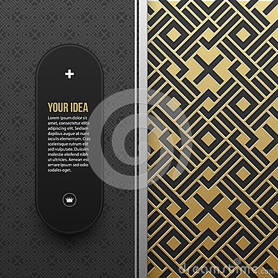Web banner template on golden metallic background with seamless pattern
