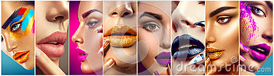 Makeup collage. Colorful lips, eyes, eyeshadows and nail art