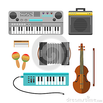 stock image of different music instruments vector musical guitar violin and sound classical concert trumpet collection entertainment