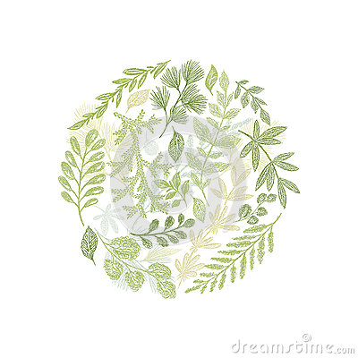 Circle green floral hand drawn composition vector