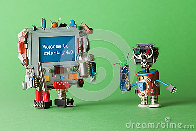 stock image of welcome to industry 4 0 robotic cyber systems, smart technology and automation process. abstract electronic toy with