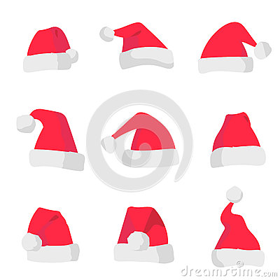 Red Santa Claus hats isolated on colorful background. Symbol of Christmas holiday. Vector santa hat set.
