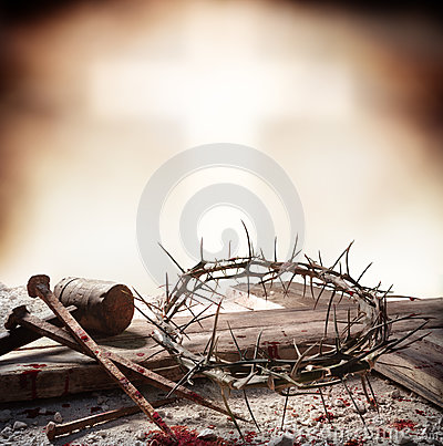 Crucifixion Of Jesus Christ - Cross With Hammer Bloody Nails And Crown