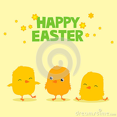 Easter greeting card with three cute cartoon baby chicks and text saying Happy Easter