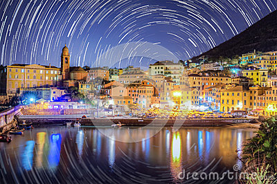 Star trail in Nervi - Italy Ge.