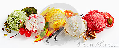 Row of ice cream scoops