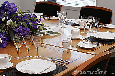 Formal dining table set up