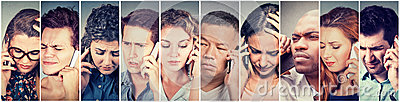 stock image of multicultural group of sad people men and women talking on mobile phone