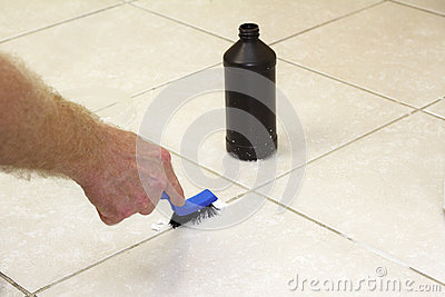 Cleaning Floor Grout with Baking Soda