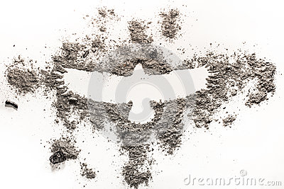 Phoenix, eagle bird drawing in ash as fire, birth, extinction, l