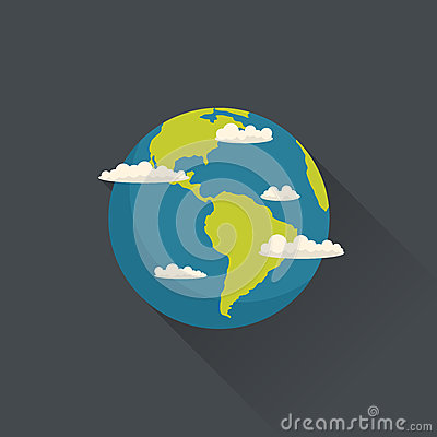 Vector planet Earth with clouds
