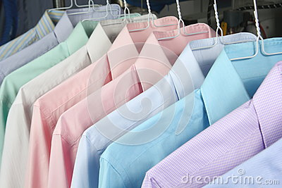 Shirts at the dry cleaners freshly ironed