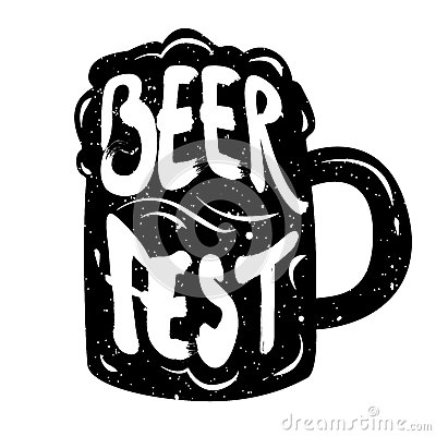 Silhouette of mug beer with lettering text Beer Fest. Vector
