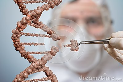 Scientist is replacing part of a DNA molecule. Genetic engineering and gene manipulation concept