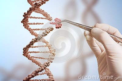 Genetic engineering and gene manipulation concept. Hand is replacing part of a DNA molecule