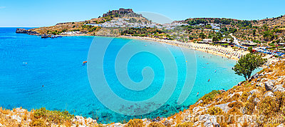 Panorama of scenic Rhodes island, Lindos bay. Rhodes Greece
