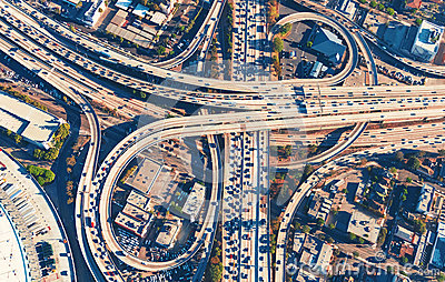 Aerial view of a freeway intersection in Los Angeles